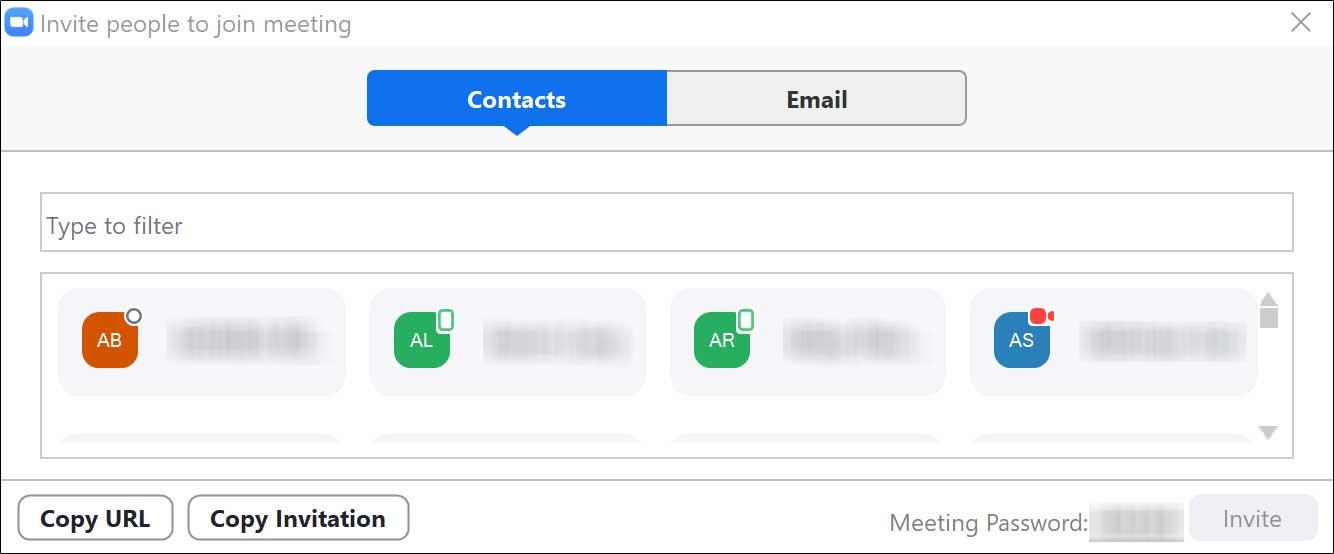 Contact invitation menu