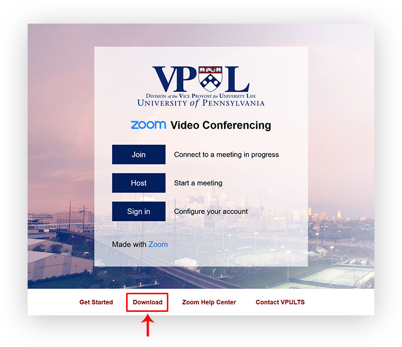 A screenshot of the VPUL Zoom login page with Download in the footer highlighted